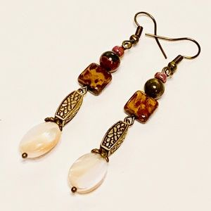 Natural Mother-of-Pearl Mixed-Media Earrings